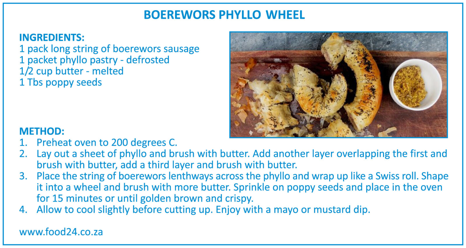 Boerewors Phyllo Wheel