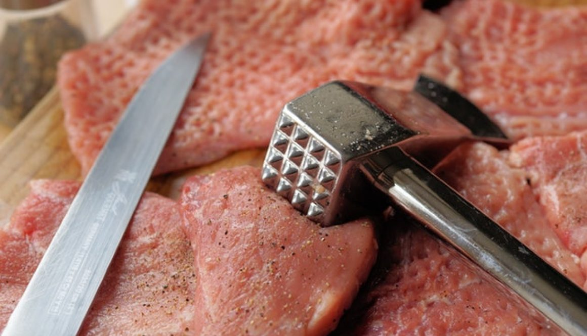 Beef with knife and masher.